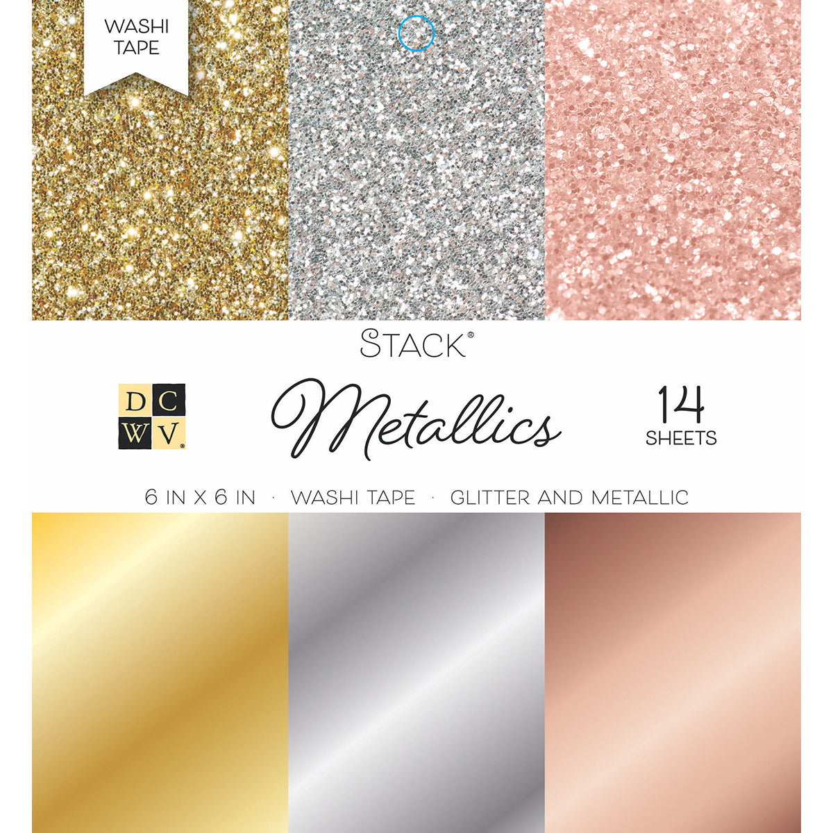 "283798 DCWV Single-Sided Cardstock Stack 6""X6"" 14/Pkg-Washi Metallics Glitter & Foil"