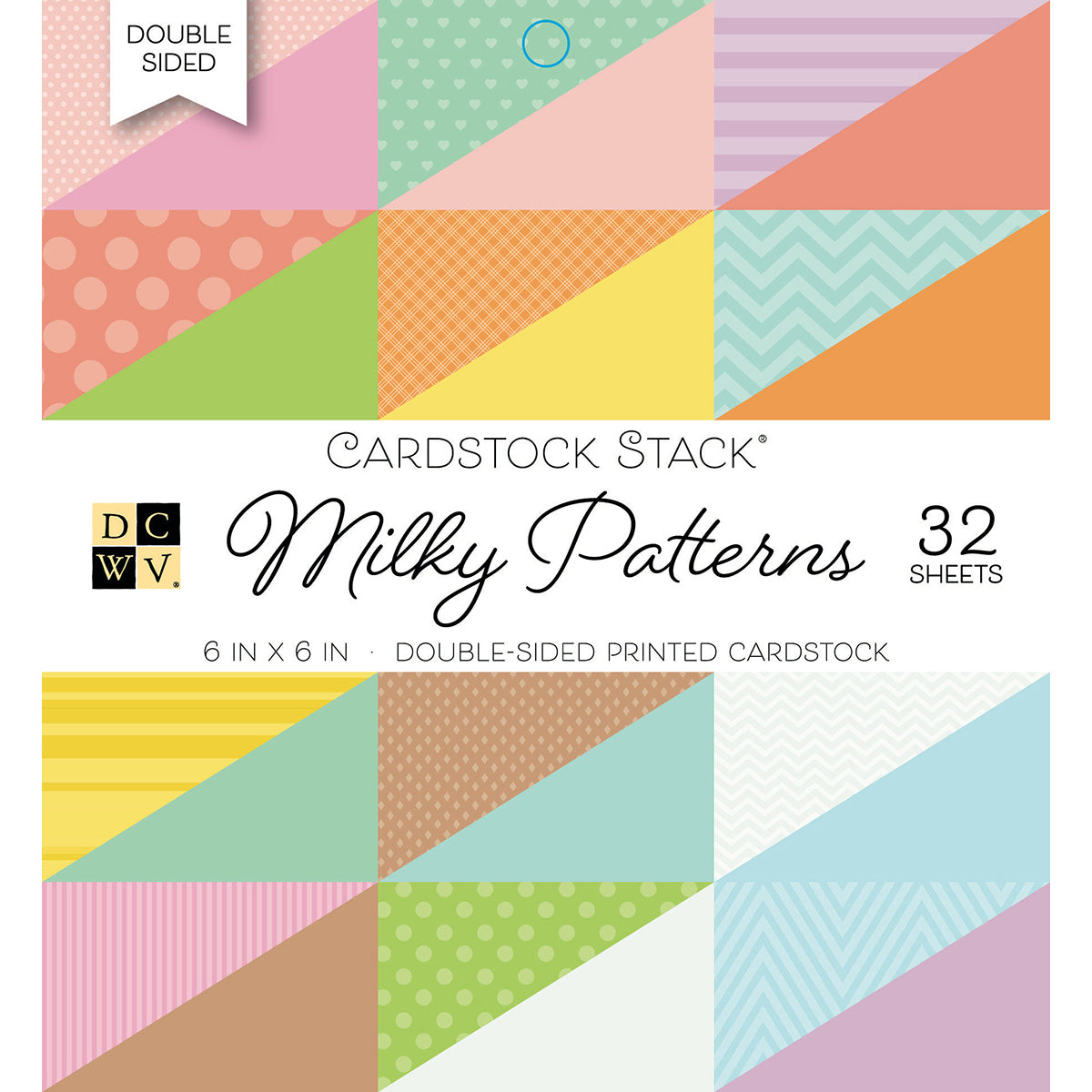 "283966 DCWV Double-Sided Cardstock Stack 6""X6"" 32/Pkg-Milky Patterns"