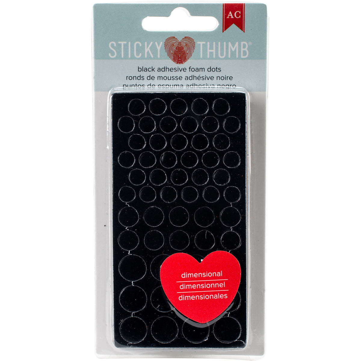 290951 Sticky Thumb Dimensional Adhesive Foam 275/Pkg-Black Dots, Assorted Sizes