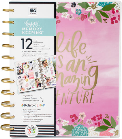 307088 Happy Memory Keeping Undated 12-Month Big Planner Life Is An Amazing Adventure