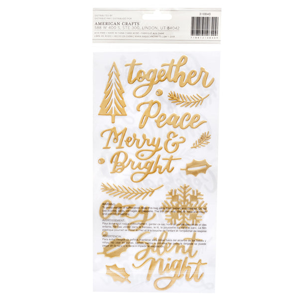"310840 Together For Christmas Thickers Stickers 5.5""X11"" 50/Pkg-Good Tidings Phrase & Icons/Vinyl"