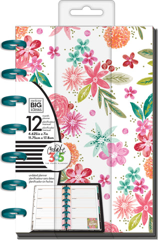 "337426 Happy Planner 12-Month Undated Mini Planner 5.125""X7.5"" Happy Mind Happy Life"