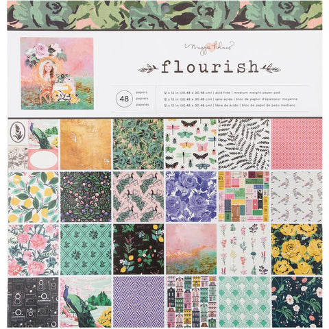 "338609 Crate Paper Single-Sided Paper Pad 12""X12"" 48/Pkg Maggie Holmes Flourish, 24 Designs/2 Ea"
