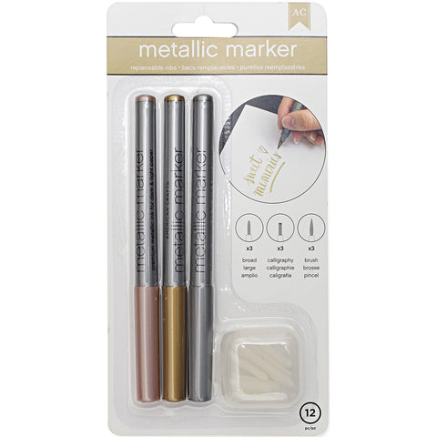 386675 Metallic Markers Broad Point 3/Pkg Rose Gold, Gold & Silver