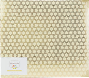 "456340 Project Life D-Ring Album 12""X12"" Honeycomb Cream & Gold"