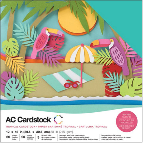 "460739 American Crafts Variety Cardstock Pack 12""X12"" 60/Pkg-Tropical"