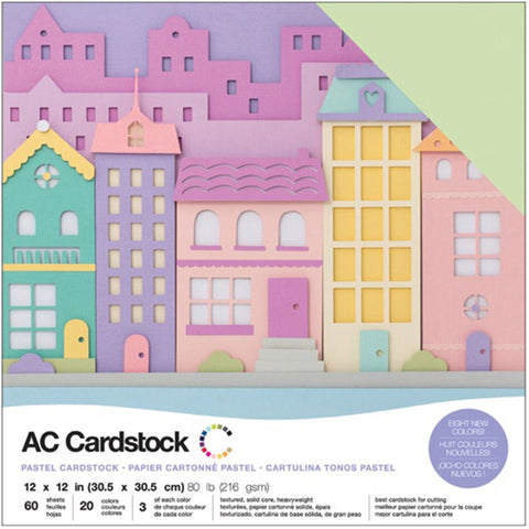 "460740 American Crafts Variety Cardstock Pack 12""X12"" 60/Pkg-Pastels"