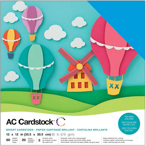 "460741 American Crafts Variety Cardstock Pack 12""X12"" 60/Pkg-Brights"