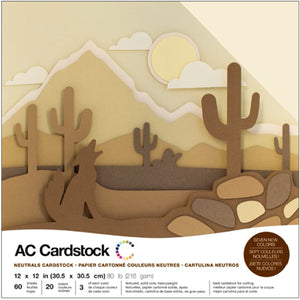"460742 American Crafts Variety Cardstock Pack 12""X12"" 60/Pkg-Neutrals"