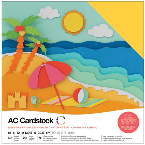 "460745 American Crafts Variety Cardstock Pack 12""X12"" 60/Pkg-Summer"