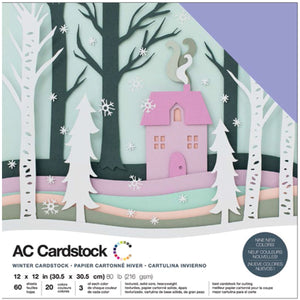 "460747 American Crafts Variety Cardstock Pack 12""X12"" 60/Pkg-Winter"