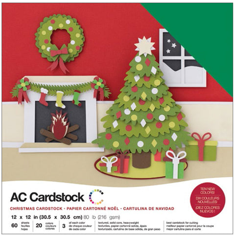 "460749 American Crafts Variety Cardstock Pack 12""X12"" 60/Pkg-Christmas"
