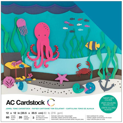 "460750 American Crafts Variety Cardstock Pack 12""X12"" 60/Pkg-Jewel"