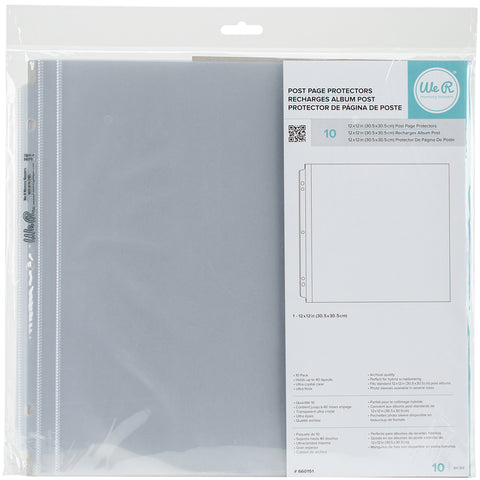 "519160 We R Post Bound Photo Sleeves 12""X12"" 10/Pkg-Full Page"