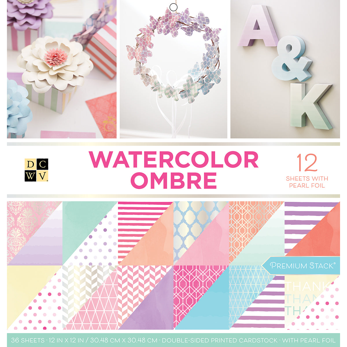 "535583 DCWV Double-Sided Cardstock Stack 12""X12"" 36/Pkg Watercolor Ombre"