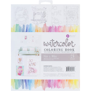 "539613 Prima Marketing Watercolor Coloring Book 8""X10"" Decor Quotes, 24 Sheets"