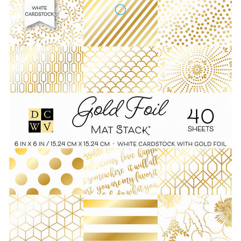 "539697 DCWV Single-Sided Cardstock Stack 6""X6"" 40/Pkg Gold Foil"