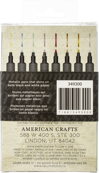 548782 Kelly Creates Metallic Jewel Bullet Tip Pens 8/Pkg