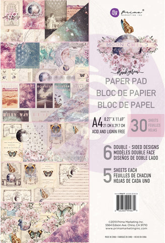 552114 Prima Marketing Double-Sided Paper Pad A4 30/Pkg Moon Child, 6 Designs/5 Each