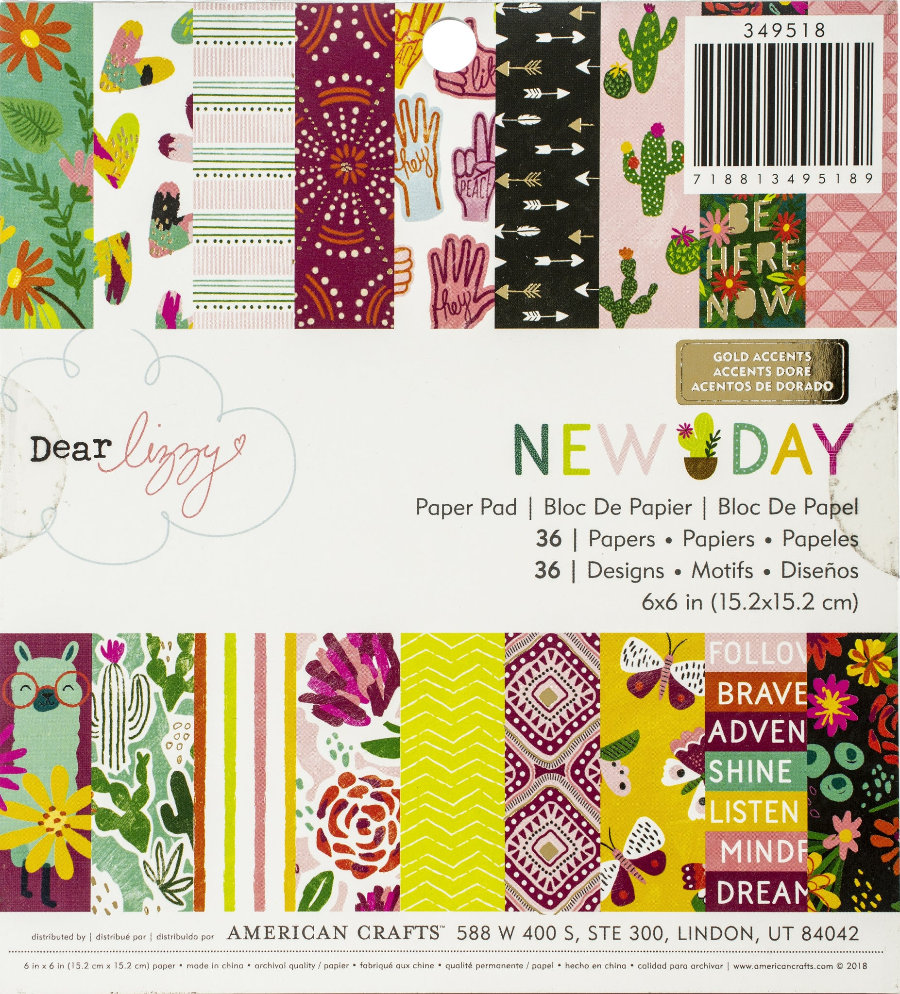 "553373 American Crafts Single-Sided Paper Pad 6""X6"" 36/Pkg Dear Lizzy New Day, 18 Designs/2 Each"