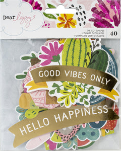 553388 Dear Lizzy New Day Ephemera Cardstock Die-Cuts 40/Pkg-W/Gold Foil Accents