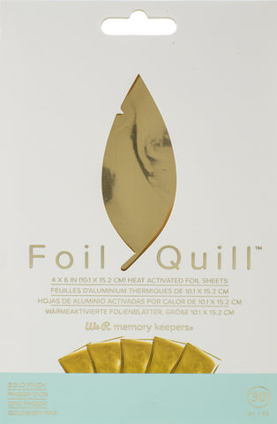 "558943 We R Memory Keepers Foil Quill Foil Sheets 4""X6"" 30/Pkg-Gold Finch"