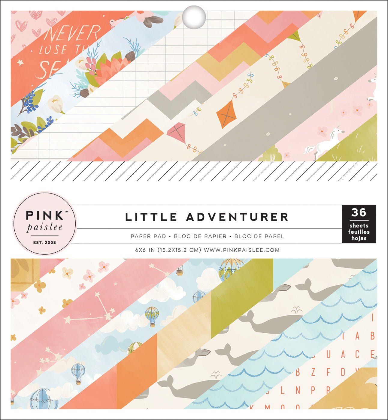 "566181 Pink Paislee Single-Sided Paper Pad 6""X6"" 36/Pkg-Little Adventurer Girl"