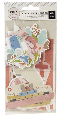 566189 Little Adventurer Ephemera Cardstock Die-Cuts 40/Pkg Girl W/Rose Gold Glitter Accents