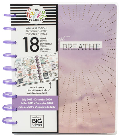 "569372 Happy Planner 18-Month Dated Medium Planner 7.75""X9.75"" Wellness, July 2019-Dec 2020"