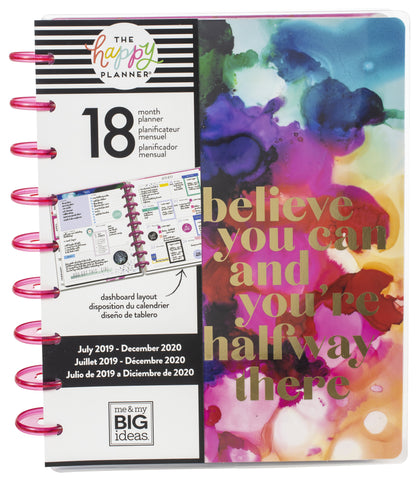 "569387 Happy Planner 18-Month Dated Medium Planner 7.75""X9.75"" Blue Paint Splash, July 2019-Dec 2020"