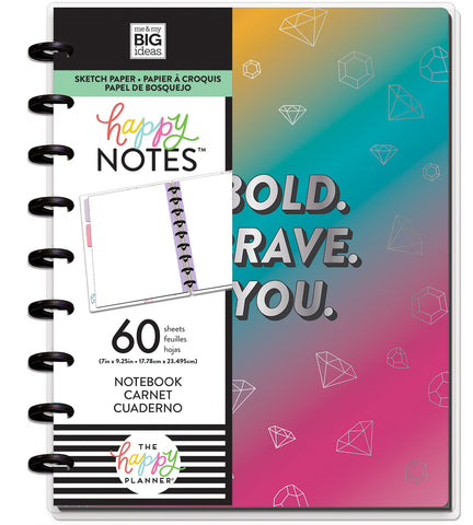569809 Happy Planner Medium Notebook W/60 Sheets Rainbow Be Bold Student