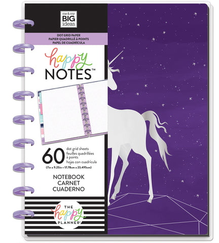 569817 Happy Planner Medium Notebook W/60 Sheets Magical Unicorn
