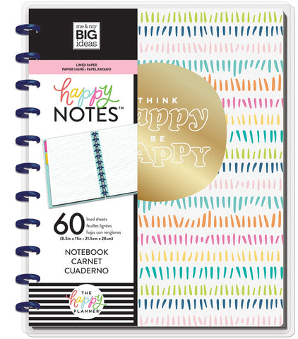 569819 Happy Planner Big Notebook W/60 Sheets Think Happy Be Happy Educational