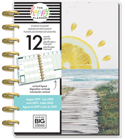"569836 Happy Planner 12-Month Dated Medium Planner 7.75""X9.75"" Golden Student, Aug 2019 - July 2020"
