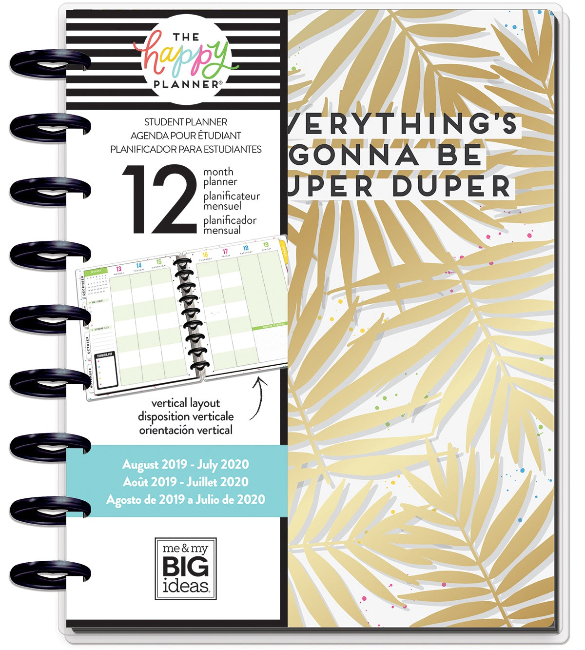 "569838 Happy Planner 12-Month Dated Medium Planner 7.75""X9.75"" Super Duper, Student, Aug 2019-Jul 2020"