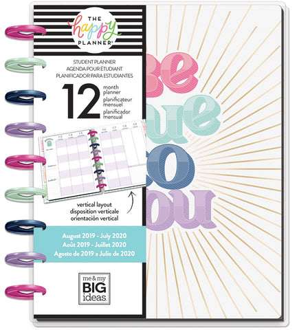 "569841 Happy Planner 12-Month Dated Medium Planner 7.75""X9.75"" Be True, Student, Aug 2019-Jul 2020"