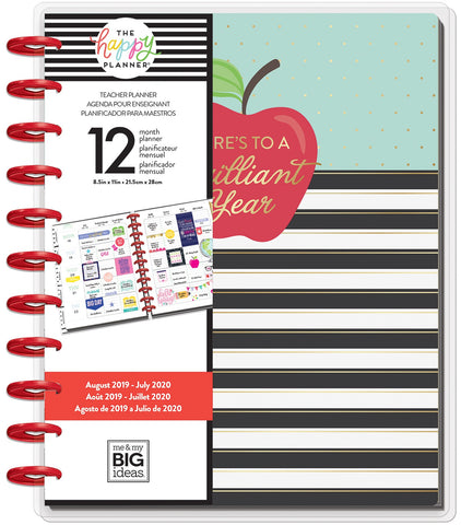 "569893 Happy Planner 12-Month Dated Big Planner 9.25""X11.5"" Brilliant Year, Aug 2019 - Jul 2020"