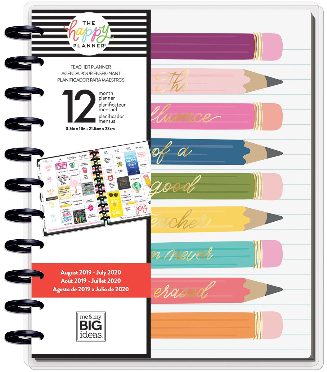 "569894 Happy Planner 12-Month Dated Big Planner 9.25""X11.5"" Influence Of A Teacher, Aug 2019-Jul2020"
