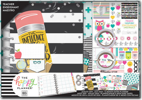 570040 Happy Planner 12-Month Dated Medium Planner Box Kit Never Be Erased, Teachr, Aug2019-Jul2020