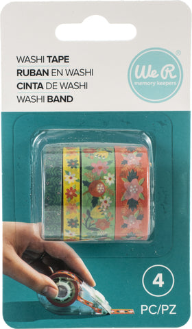 570059 We R Washi Tape Rolls 4/Pkg-Bright Floral