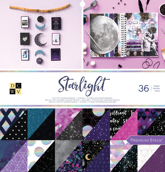"570182 DCWV Double-Sided Cardstock Stack 12""X12"" 36/Pkg Starlight"