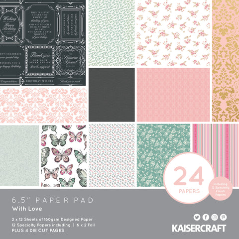 "577594 Kaisercraft Paper Pad 6.5""X6.5"" 40/Pkg-With Love"