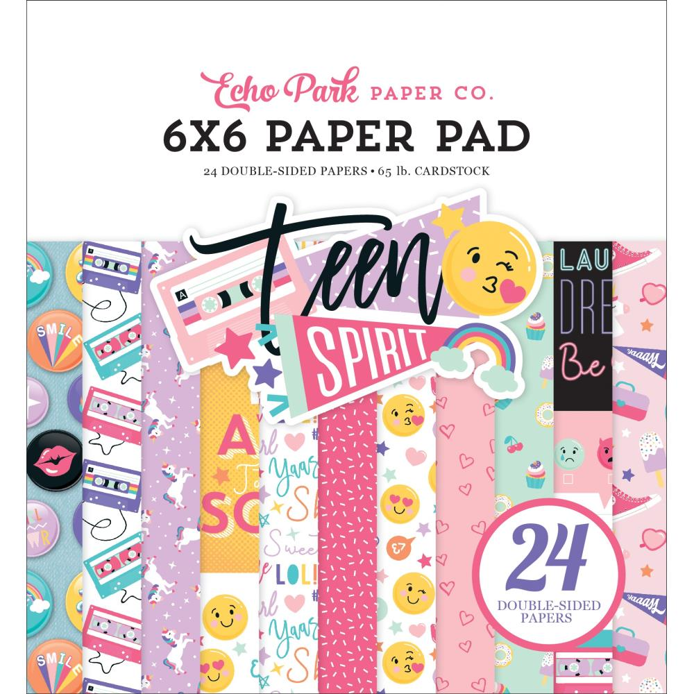 "585969 Echo Park Double-Sided Paper Pad 6""X6"" 24/Pkg-Teen Spirit Girl, 12 Designs/2 Each"