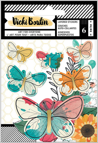 593527 Vicki Boutin Wildflower & Honey Layered Stickers 6/Pkg-Vellum Butterflies