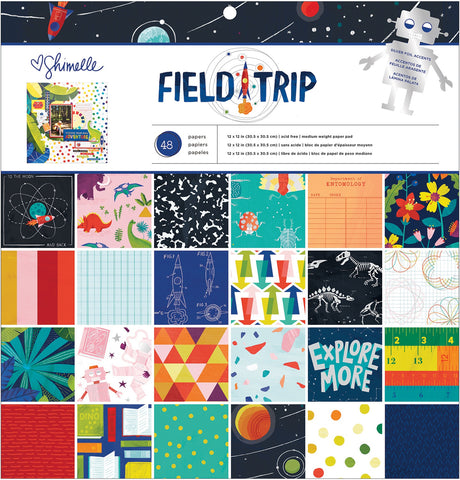 "593807 American Crafts Single-Sided Paper Pad 12""X12"" 48/Pkg Shimelle Field Trip, 24 Designs/2 Each"