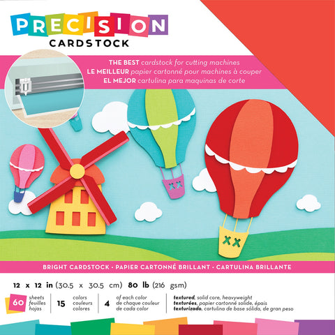 "593870 American Crafts Precision Cardstock Pack 80lb 12""X12"" 60/Pkg-Bright/Textured"