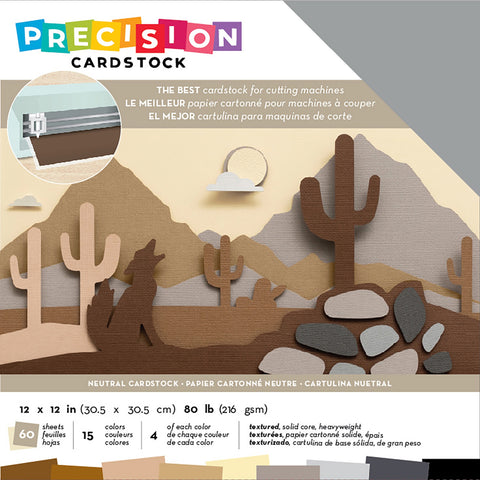 "593872 American Crafts Precision Cardstock Pack 80lb 12""X12"" 60/Pkg-Neutral/Textured"