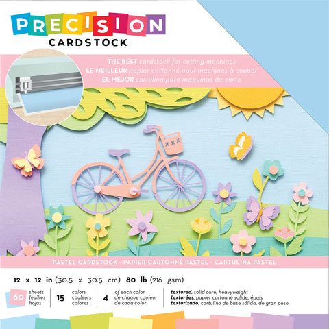 "593873 American Crafts Precision Cardstock Pack 80lb 12""X12"" 60/Pkg-Pastel/Textured"