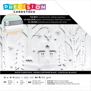 "593874 American Crafts Precision Cardstock Pack 80lb 12""X12"" 60/Pkg-White/Textured"