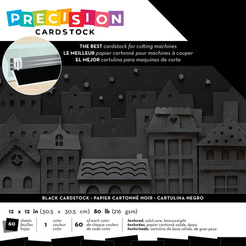 "593875 American Crafts Precision Cardstock Pack 80lb 12""X12"" 60/Pkg-Black/Textured"